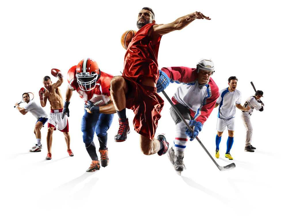 Group of athletes from 7 different popular sports in athletic action poses.